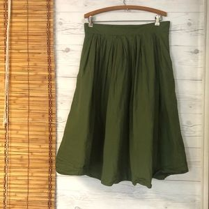 EShakti A line Skirt Pleated Full Green Large 14